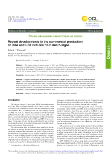 Recent developments in the commercial production of DHA and EPA rich oils from micro-algae