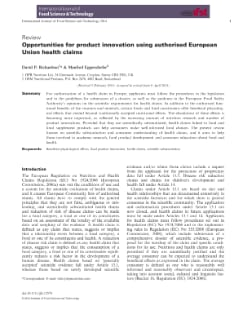 Opportunities for product innovation using authorised European Union health claims